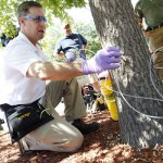 Sean Facey, Manager of Strategic Accounts with Arbojet, an injection company based in Woburn, Mass., gives a demonstration of a tree IV injection system to a pin oak, Aug. 29 at the Hampton Inn in Waterbury. The group was showing different injection treatment options, aimed at protecting ash trees for up to two years against the invasive emerald ash borers. –RA ARCHIVE