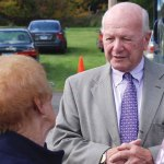 State Sen. Joseph J. Crisco, Jr. (D-17) talks with senior citizens at his annual senior fair Oct. 11 in Ansonia. –CONTRIBUTED