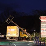 A truck plowed into a telephone pole on New Haven Road in Naugatuck around 6 p.m. Thursday, spilling fuel and shutting down the road. No one was injured. –RA ARCHIVE