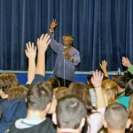 Len Cabral asks Long River Middle School students questions between telling them stories. Cabral, an internationally acclaimed storyteller, visited the Region 16 school in Prospect Nov. 20 to entertain the students with tales. -LUKE MARSHALL