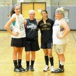 Woodland girls basketball captains, from left, junior Andrea Piccolo, senior Nicole Fowler, senior Alma Rizvani, and senior Liz Martin will look to lead the Hawks back to the postseason this year.-LUKE MARSHALL