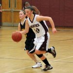 Naugatuck's Angelina Piccirillo pushes the ball up court Monday night against Kaynor Tech. Through the first three games, Piccirillo has been the team's top scorer with 47 points. –ELIO GUGLIOTTI