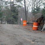 The town removed a portion of this rock ledge on Plank Road earlier this week to widen the road. –LUKE MARSHALL