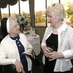 The late Mary McCormack, of Prospect, right, talks with Sister Mary Frederick during the 90th anniversary dinner for Saint Margaret's School at the Villa Rosa in Waterbury in 2006.  McCormack died last Friday in a hit-and-run accident while she was snowblowing her driveway on Straitsville Road. –RA ARCHIVE