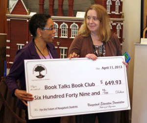 Naugatuck Education Foundation Director Elma Solomon, left, presents a grant to Salem Elementary School teacher Deborah Wilson April 11 during a grant reception at the Naugatuck Historical Society Museum. –ELIO GUGLIOTTI