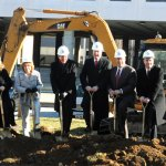 Borough officials, from left, Assistant Superintendent of Schools Brigette Crispino, Naugatuck High School Principal Janice Saam, Superintendent of Schools John Tindall-Gibson, Board of Education member Scott Slauson, Board of Education Chairman David Heller, Mayor Robert Mezzo and Board of Education member James Jordan break ground on the Naugatuck High School renovation project during a ceremony Tuesday morning in front of the school. –LUKE MARSHALL