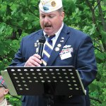 American Legion Schaeffer-Fischer Post 25 Commander Bruce Carlson addresses the crowd during a Memorial Day ceremony May 26 in Beacon Falls. –LUKE MARSHALL