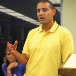 Democratic burgess candidate Jimmy Ayash addresses the Naugatuck Democratic Town Committee Monday night in Town Hall. –LUKE MARSHALL