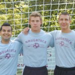 Naugatuck High School boys soccer captains, from left, junior Ygor Silva, senior Adam Branco and junior Tyler Saad will lead the Greyhounds on the pitch this season. –KEN MORSE