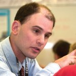 Jeff Haddad works with fourth-graders at Gainfield Elementary School in Southbury in 2009. Haddad has been hired as the assistant principal for Algonquin and Community schools in Prospect. –RA ARCHIVE