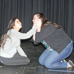 Woodland Regional High School seniors Erika Pellegrino, left, and Catherine Pelkey rehearse a scene from The Miracle Worker earlier this month at the high school in Beacon Falls. The play, which follows the true life story of Helen Keller, played by Pellegrino, and her teacher Anne Sullivan, played by Pelkey, will be presented Dec. 6 and Dec. 7 at 7 p.m. Tickets are $12 for adults and $5 for students and are available at the door. –LUKE MARSHALL
