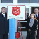 From left, Salvation Army Major John Lock, state Rep. Rosa Rebimbas (R-70) and state Rep. David Labriola (R-131) pose for a picture outside of the Naugatuck Walmart on Dec. 18. The lawmakers collected donations for the Salvation Army as bell ringers. –CONTRIBUTED