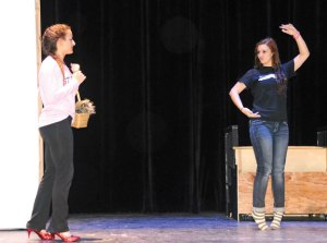 Former Naugatuck High School students Alex Hernandez, left, and Kaylin Spaulding rehearse a scene from the 'Wizard of Oz' last February at the school. Naugatuck schools officials are considering adding five new theater courses to the curriculum at the high school. –LUKE MARSHALL