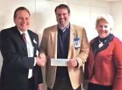 Ion Bank President and CEO Charles Boulier III, left, presents a $5,000 grant to St. Mary's Hospital President and CEO Chad Wable and St. Mary's Hospital Foundation President Peggy Lawlor March 26. The grant will go directly to the hospital's annual fund which helps underwrite a diverse range of programs, services and equipment. In previous years the annual fund has provided equipment for the operating rooms, books for the Reach Out and Read program in the Children's Health Center and equipment for the hospital's Breast Center. It has also funded a rehabilitation program for cardiac patients, continuing medical education for medical and surgical residents and education programs for patients. 'We are very grateful to have once again received this timely and important grant from the Ion Bank Foundation,' said Wable in a press release. 'The funds support a number of programs and activities that have a direct impact on our patients and staff and on the quality of care they receive and deliver. We here at the hospital consider ourselves fortunate to be among the many area organizations that the Ion Bank Foundation supports year after year.' -CONTRIBUTED