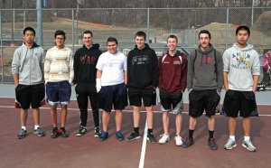 Naugatuck High seniors, from left, Yun Yue Chen, Nick Hernandez, Julius Schoebel, Nate Lindsly, Jeff Hensley, Jake Morrissey, Tyler Posser and Yun Chao Chen will lead the tennis team this season. –LUKE MARSHALL