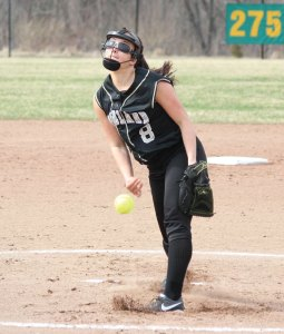 Woodland pitcher Samantha Lee stepped into the circle as a freshmen to fill the shoes of All-State pitcher Katie Alfiere. Four years later, Lee has never let the pressure get to her whether on the field or the court. –FILE PHOTO