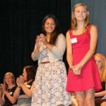Woodland Class of 2014 Salutatorian Salma Shitia, left, and Class of 2014 Valedictorian Alexa Kiernan are recognizeD during the annual Senior Scholarship Night June 12. –CONTRIBUTED