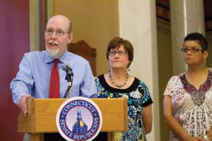 State Sen. Joe Markley (R-16) speaks during a recent press conference in Hartford. –CONTRIBUTED