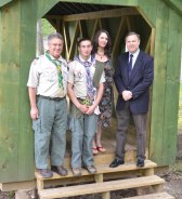 Boy Scout Donald Salvatore Ferretti of Beacon Falls received the rank of Eagle Scout at Troop 104's Eagle Court of Honor May 31. Ferretti built a covered bridge at Matthies Park for his Eagle Scout project. His Eagle ceremony was held at Matthies Park in view of the new bridge. Ferretti, the son of Donald and Deborah Ferretti, is entering his sophomore year at Syracuse University. Pictured, from left, Donald Ferretti, Donald Salvatore Ferretti, Deborah Ferretti and First Selectman Christopher Bielik. –CONTRIBUTED
