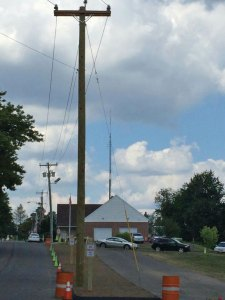 A new traffic island on Center Street is home to a new power line. The town constructed the island recently in order to provide electricity for a new elevator at Prospect Congregational Church.- RA ARCHIVE
