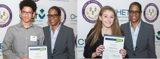 Naugatuck residents Dean Andrade, pictured at left, and Hannah Lauer, pictured at right, and Beacon Falls resident Harrison Clark, not pictured, all high school seniors, were among 200 Connecticut high school students to receive a Connecticut Higher Education Trust (CHET) 2015 Advance Scholarship of up to $2,500. The winners, who were recognized Dec. 10 at a ceremony at the Legislative Office Building in Hartford, were randomly selected from a pool of 3,263 applicants. –CONTRIBUTED