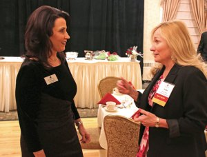 Waterbury Regional Chamber of Commerce President Lynn Ward, left, talks with past Naugatuck Chamber of Commerce Chairman Yvette Wilmot during the Naugatuck Chamber's 94th Annual Meeting and Lewis A. Dibble Sr. Award Dinner Tuesday at the Crystal Room in Naugatuck. –LUKE MARSHALL