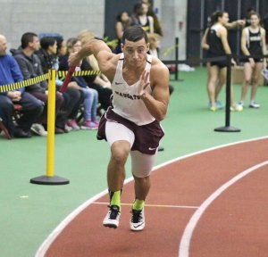 Naugatuck's Jalen Datil takes off at the beginning of the 4x200 during the NVL indoor track championship Monday at the Floyd Little Athletic Center in New Haven. –LUKE MARSHALL