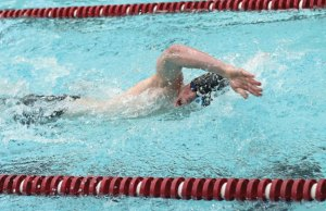 Naugatuck's Brian Goggin competes in the 200 yard freestyle Feb. 9 against Sacred Heart at Naugatuck High School. The Greyhounds won the meet, 102-84, for their first victory over Sacred Heart in five seasons. –LUKE MARSHALL