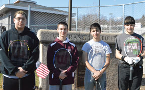 Naugatuck's top tennis players, from left, juniors Matt Triscritti, P.J. Morrissey, Marco Rebelo and senior Jacob Torres will lead the Greyhounds on the tennis court this season. –KEN MORSE