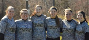 Woodland seniors, from left, Samantha Buzgo (captain), Gabriella Bedryczuk (captain), Carla Piccolo (captain), Samantha White, Cameron Caswell and Gina Farina will lead an experienced softball team this season. –KEN MORSE