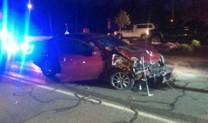 Three people were hospitalized following an accident at the corner of South Main Street and Bethany Road in Beacon Falls on Sunday night. –BEACON HOSE