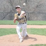 Woodland's Brett Petruny pitches April 22 versus Ansonia in Beacon Falls. –ELIO GUGLIOTTI