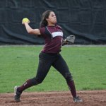 Naugatuck's Jenna Massicotte throws to first for an out against Watertown Saturday in Naugatuck. Watertown won the game, 8-5. –ELIO GUGLIOTTI