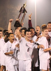 The Naugatuck boys soccer team won its third straight NVL title with a 2-0 win over Woodland Nov. 5. Shortly after, head coach Art Nunes announced his retirement after 21 years on the sidelines. –FILE PHOTO