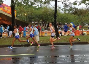 Mohamed Hrezi, a 2009 graduate of Naugatuck High School, right, competes in the men's marathon Aug. 21 in the Summer Olympics in Rio de Janeiro, Brazil. Hrezi represented Libya in the event. –CONTRIBUTED