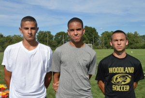 Woodland seniors and boys soccer captains, from left, Zach Powanda, Xavier Gibson and A.J. Oliveira will lead the Hawks this season. –KEN MORSE