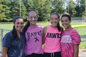 Woodland girls soccer captains, from left, senior Gillian Hotchkiss, senior Jenna Pannone, junior Eliza Smith and senior Sam Plasky will lead the Hawks this season. –KEN MORSE
