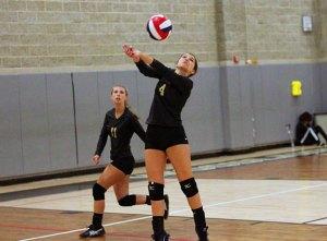 Woodland's Katie Minutillo (4) hits the ball Sept. 21 versus Wilby in Beacon Falls. Woodland won, 3-0. –ELIO GUGLIOTTI