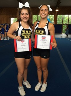 Woodland Regional High School cheerleaders Salena DiRubba, left, and Alexa Hassan were recently named to the All-American Cheer Team by the National Cheerleaders Association. –CONTRIBUTED