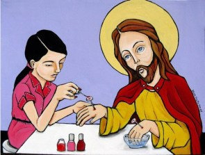 Jesus doing his nails