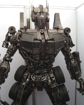optimus prime made out of junk