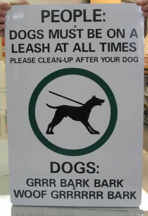 Dogs must be on a leash