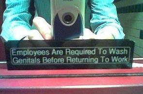 Employees Are Required To Wash Genitals Before Returning To Work