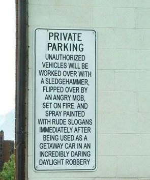 Private Parking Warning Sign