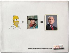 Homer + John Wayne = GW Bush