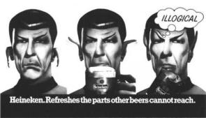 Heineken Advertisment Featuring Spock