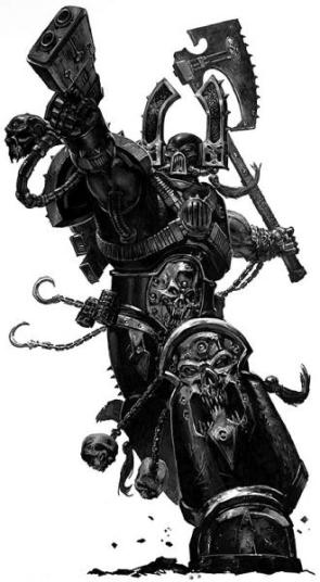 Warhammer 40k Black And White Choas Marine