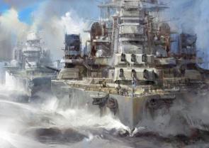 Battleship Painted Wallpaper