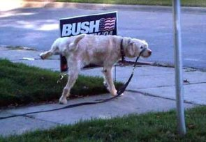 A Dog Pees On President Bush's Sign