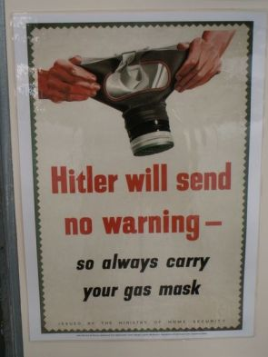 Hitler Will Send No Warning – so always carry your gas mask